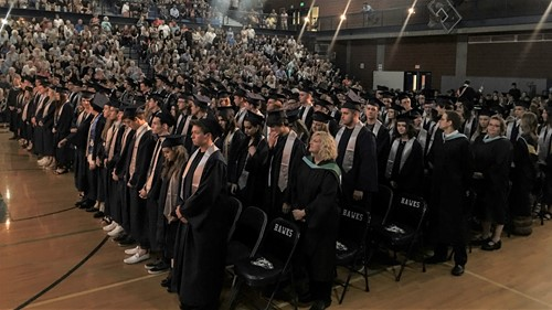 HHS's graduating class of 2019 in robes and mortarboards